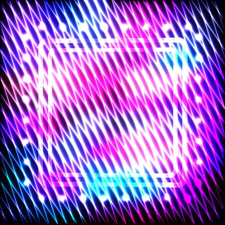 Colorful neon square frame on a dark background, vector abstract illustration. Imagens - 126493770
