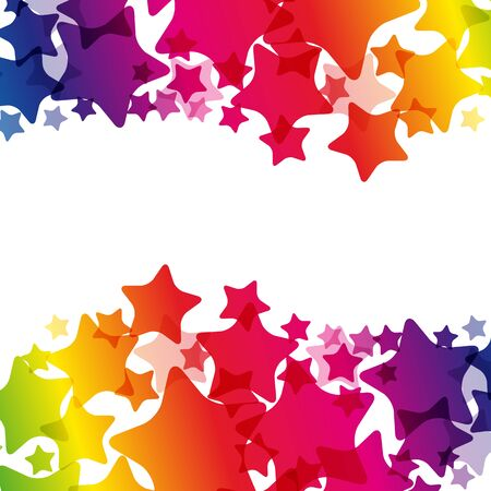 Rainbow stars  border, vector  texture, carnival bright decoration card. Imagens - 126701363
