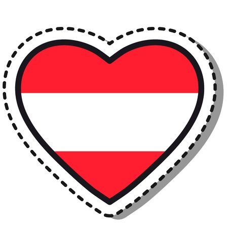 Flag Austria heart sticker on white background. Vintage vector love badge. Template design element. National day. Travel sign.