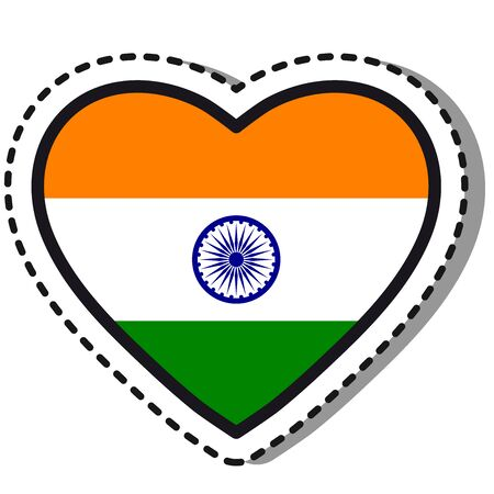 Flag India heart sticker on white background. Vintage vector love badge. Template design element. National day. Travel sign. Imagens - 127418510