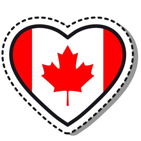 Flag Canada heart sticker on white background. Vintage vector love badge. Template design element. National day. Travel sign.