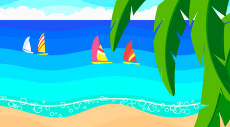 Seascape: sandy beach, yachts in the ocean, palm leaves, summer sky.