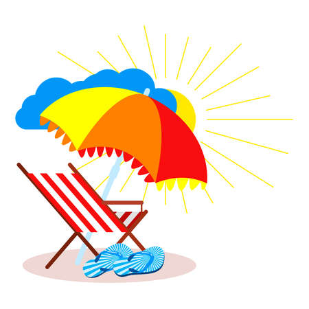 Beach scene: beach chair, beach umbrella, flip flops, sun, cloud. Illustration