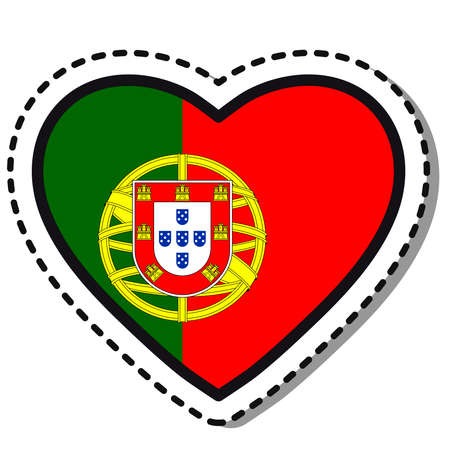 Flag Portugal heart sticker on white background. Vintage vector love badge. Template design element. National day. Travel sign.