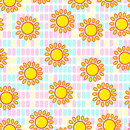 Sun seamless pattern on white background. Paper print design. Abstract retro vector illustration. Trendy textile, fabric, wrapping. Modern space decoration. Standard-Bild - 157131623