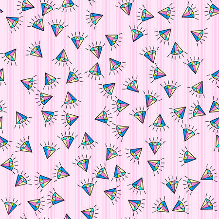 Colorful diamond seamless pattern on white background. Paper print design. Abstract retro vector illustration. Trendy textile, fabric, wrapping. Modern space decoration. 向量圖像