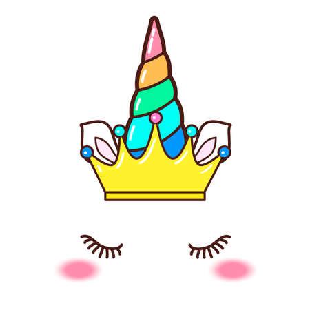 Kawaii cute unicorn horn, funny colorful cartoon. 矢量图像
