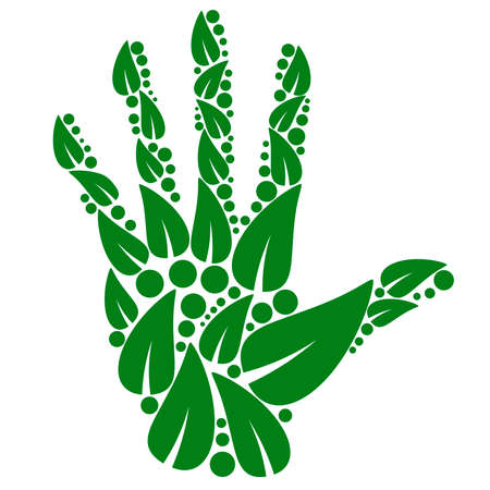Green hand made of leaves, eco concept logo, herbal ecology icon, bio palm symbol.