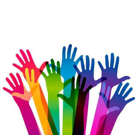 Hands on a light background. Colorful silhouettes arms. Vector team, help, friendship symbol illustration.