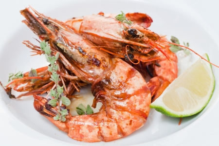 jumbo: three cooked shrimp with on a white plate with oregano