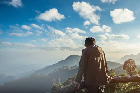 Alone traveler at peak mountain background, Chiangmai Thailand, travel concept.
