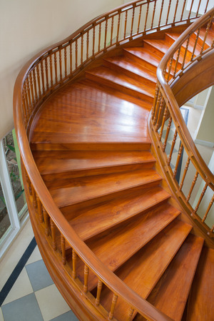 top view of stair seeing step and detail of wood photo
