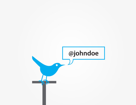 microblog: Blue bird socializing  Social Media Message  Vector graphic template  Isolated on white background