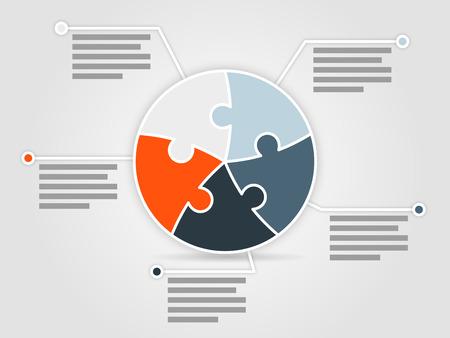 bit: Fem sidiga pussel presentation infographic mall med förklarande textfält