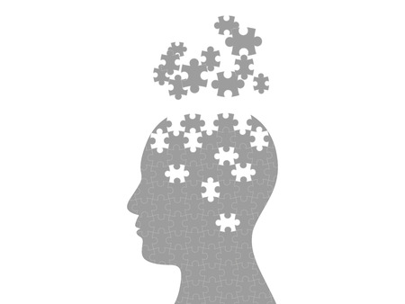 Puzzel hoofd exploderende gedachten grafische template