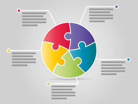 Kleurrijke vijf dubbelzijdige puzzel presentatie infographic sjabloon met verklarende tekst veld