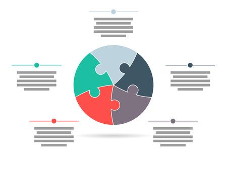 Colorful cinq casse-tête face modèle de présentation infographique avec explicative champ de texte Banque d'images - 30397524