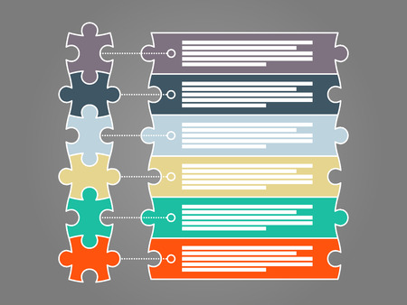 piece: Colorful six piece puzzle presentation infographic template