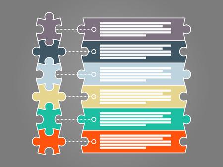 Kleurrijke zes stukraadsel presentatie infographic template