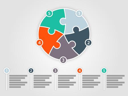 Vijf zijdig rond puzzel presentatie infographic diagram