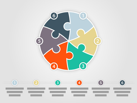 Six sided round puzzle presentation infographic diagram Vector