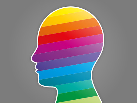 Colorful rainbow spectrum puzzle head presentation vector graphic template Vector