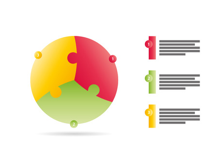 sided: Three sided puzzle presentation infographic template vector Illustration