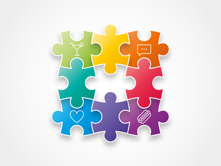 Puzzle pieces with icons concept vector illustration graphic Vector