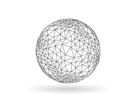 Geometric polygonal globe sphere unusual vector graphic template isolated on white background Çizim