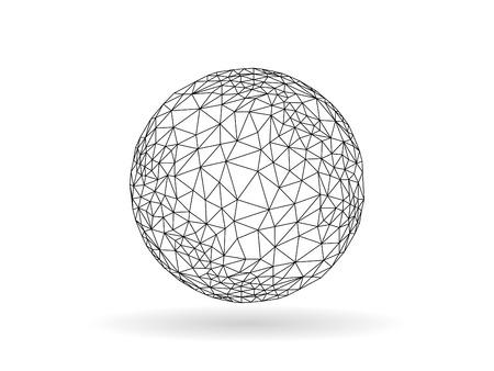 Geometrische veelhoekige globe bol ongewone vectorafbeelding sjabloon op een witte achtergrond