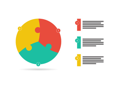Three sided flat puzzle presentation infographic template vector