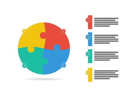 Vierzijdige vlakke puzzel presentatie infographic template vector