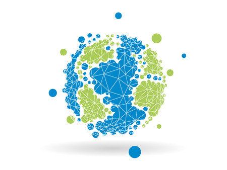 wereldbol: Gestippelde geometrische earth globe bol zakelijke grafische