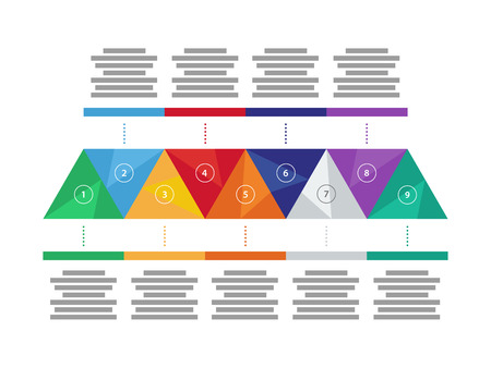 er: Colorful spectrum rainbow geometric triangular five sided presentation infographic diagram chart vector graphic template with explanatory text field isolated on white background