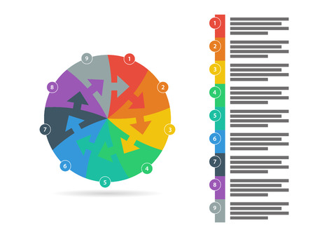 text field: Flat rainbow spectrum colored puzzle presentation infographic template with explanatory text field isolated on white background