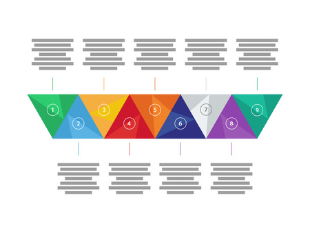 explanatory: Colorful spectrum rainbow geometric triangular five sided presentation infographic diagram chart vector graphic template with explanatory text field isolated on white background