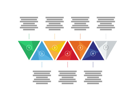 text field: Colorful spectrum rainbow geometric triangular five sided presentation infographic diagram chart vector graphic template with explanatory text field isolated on white background