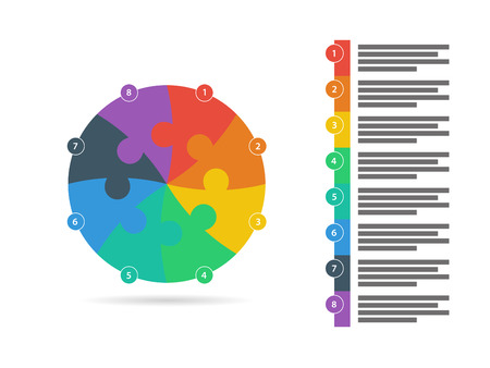 interconnected: Flat rainbow spectrum colored puzzle presentation infographic template with explanatory text field isolated on white background