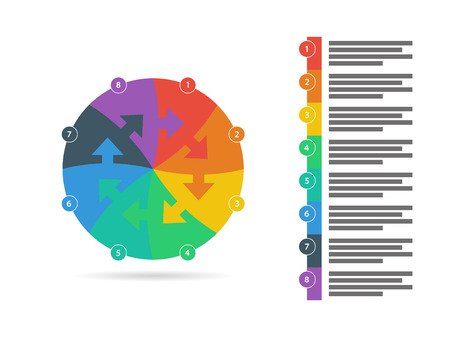 explanatory: Flat rainbow spectrum colored puzzle presentation infographic template with explanatory text field isolated on white background