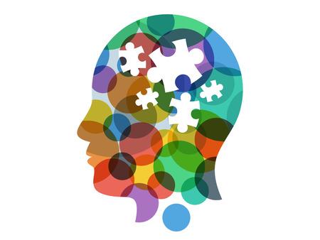 Spectrum puzzel hoofd presentatie vector