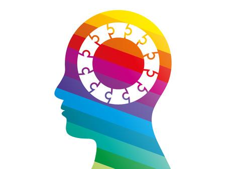 Spectrum puzzle head presentation vector Vector