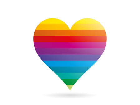 Rainbow striped heart shape vector Çizim