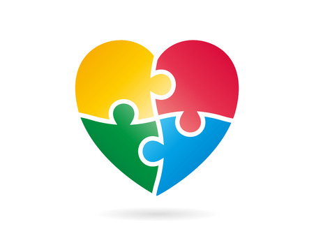 Colorfull puzzle heart shape vector Çizim