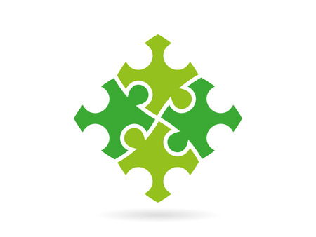 Green puzzle pieces forming a whole square vector