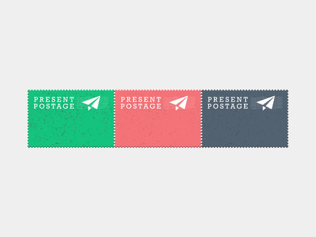 Air mail present postage stamps Vintage hipster style vector graphic illustration isolated on light background