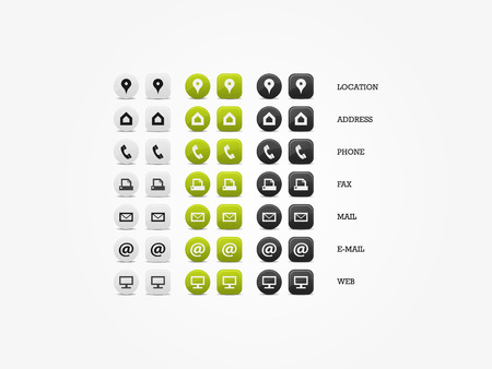 Multipurpose Business Card Icon Set of web icons for business, finance and communication Illustration