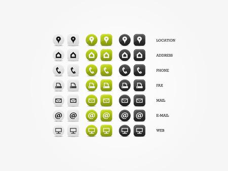 Multipurpose Visitekaartje Icon Set van web-iconen voor zaken, financiën en communicatie