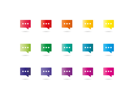 Collection of colorful rainbow spectrum dialog clouds icons isolated on white background vector graphic illustration template Vector