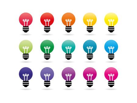 idea symbol: Colorful rainbow spectrum light bulb icons. Idea symbol. Vector graphic illustration template. Isolated on white background. Illustration