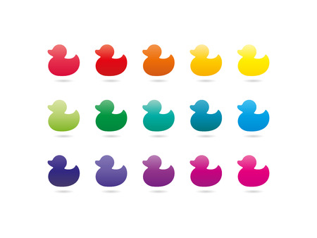 kids painting: Colorful rainbow spectrum duck icons. Animal symbol. Vector graphic illustration template. Isolated on white background. Illustration